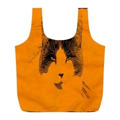 Cat Graphic Art Full Print Recycle Bags (L)