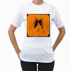 Cat Graphic Art Women s T Shirt (white)