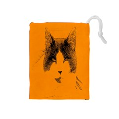 Cat Graphic Art Drawstring Pouches (medium)