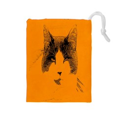Cat Graphic Art Drawstring Pouches (Large)