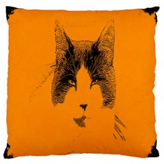 Cat Graphic Art Large Flano Cushion Case (Two Sides)