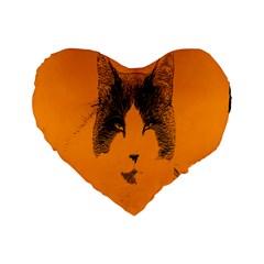 Cat Graphic Art Standard 16  Premium Flano Heart Shape Cushions