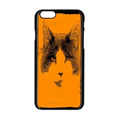Cat Graphic Art Apple iPhone 6/6S Black Enamel Case