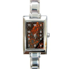 Abstract Lighted Wallpaper Of A Metal Starburst Grid With Orange Back Lighting Rectangle Italian Charm Watch