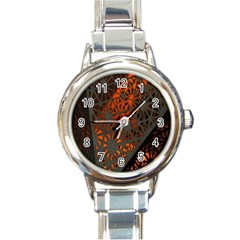 Abstract Lighted Wallpaper Of A Metal Starburst Grid With Orange Back Lighting Round Italian Charm Watch