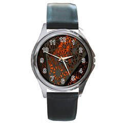 Abstract Lighted Wallpaper Of A Metal Starburst Grid With Orange Back Lighting Round Metal Watch