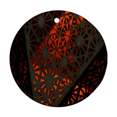Abstract Lighted Wallpaper Of A Metal Starburst Grid With Orange Back Lighting Ornament (round)
