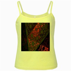 Abstract Lighted Wallpaper Of A Metal Starburst Grid With Orange Back Lighting Yellow Spaghetti Tank