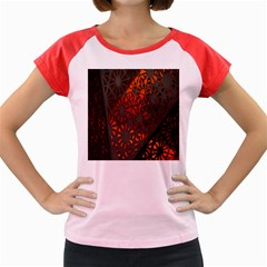 Abstract Lighted Wallpaper Of A Metal Starburst Grid With Orange Back Lighting Women s Cap Sleeve T Shirt