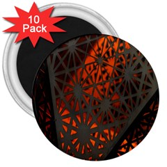 Abstract Lighted Wallpaper Of A Metal Starburst Grid With Orange Back Lighting 3  Magnets (10 pack)
