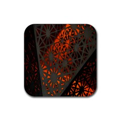 Abstract Lighted Wallpaper Of A Metal Starburst Grid With Orange Back Lighting Rubber Square Coaster (4 pack)