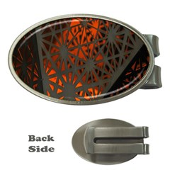 Abstract Lighted Wallpaper Of A Metal Starburst Grid With Orange Back Lighting Money Clips (Oval)