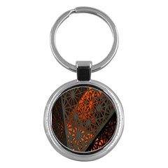 Abstract Lighted Wallpaper Of A Metal Starburst Grid With Orange Back Lighting Key Chains (round)