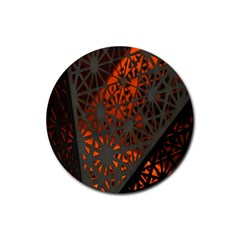 Abstract Lighted Wallpaper Of A Metal Starburst Grid With Orange Back Lighting Rubber Coaster (Round)
