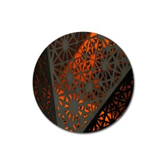 Abstract Lighted Wallpaper Of A Metal Starburst Grid With Orange Back Lighting Magnet 3  (round)