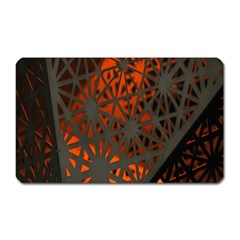 Abstract Lighted Wallpaper Of A Metal Starburst Grid With Orange Back Lighting Magnet (rectangular)