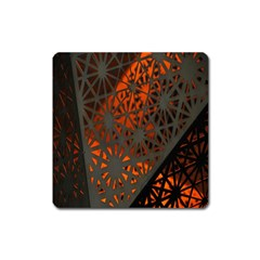 Abstract Lighted Wallpaper Of A Metal Starburst Grid With Orange Back Lighting Square Magnet