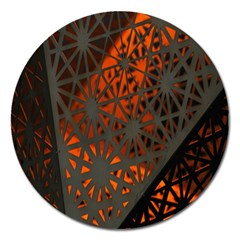 Abstract Lighted Wallpaper Of A Metal Starburst Grid With Orange Back Lighting Magnet 5  (round)