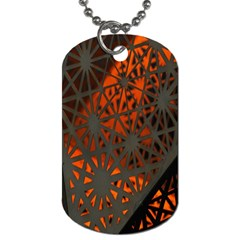 Abstract Lighted Wallpaper Of A Metal Starburst Grid With Orange Back Lighting Dog Tag (One Side)