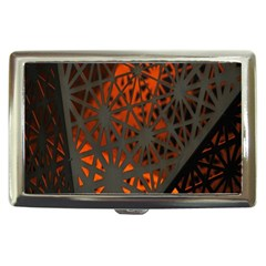 Abstract Lighted Wallpaper Of A Metal Starburst Grid With Orange Back Lighting Cigarette Money Cases
