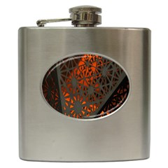Abstract Lighted Wallpaper Of A Metal Starburst Grid With Orange Back Lighting Hip Flask (6 Oz)