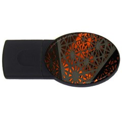 Abstract Lighted Wallpaper Of A Metal Starburst Grid With Orange Back Lighting Usb Flash Drive Oval (2 Gb)