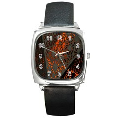 Abstract Lighted Wallpaper Of A Metal Starburst Grid With Orange Back Lighting Square Metal Watch