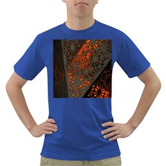 Abstract Lighted Wallpaper Of A Metal Starburst Grid With Orange Back Lighting Dark T Shirt