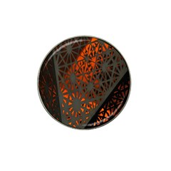 Abstract Lighted Wallpaper Of A Metal Starburst Grid With Orange Back Lighting Hat Clip Ball Marker