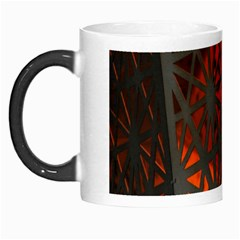 Abstract Lighted Wallpaper Of A Metal Starburst Grid With Orange Back Lighting Morph Mugs