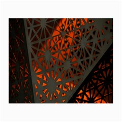 Abstract Lighted Wallpaper Of A Metal Starburst Grid With Orange Back Lighting Small Glasses Cloth