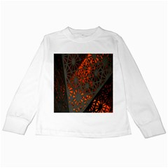 Abstract Lighted Wallpaper Of A Metal Starburst Grid With Orange Back Lighting Kids Long Sleeve T-Shirts