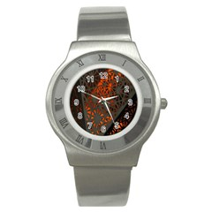 Abstract Lighted Wallpaper Of A Metal Starburst Grid With Orange Back Lighting Stainless Steel Watch