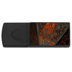 Abstract Lighted Wallpaper Of A Metal Starburst Grid With Orange Back Lighting USB Flash Drive Rectangular (4 GB)