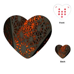 Abstract Lighted Wallpaper Of A Metal Starburst Grid With Orange Back Lighting Playing Cards (Heart)