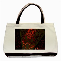 Abstract Lighted Wallpaper Of A Metal Starburst Grid With Orange Back Lighting Basic Tote Bag