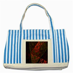 Abstract Lighted Wallpaper Of A Metal Starburst Grid With Orange Back Lighting Striped Blue Tote Bag