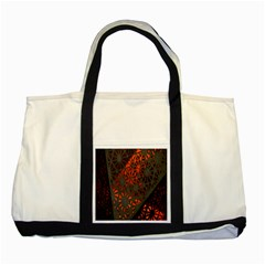 Abstract Lighted Wallpaper Of A Metal Starburst Grid With Orange Back Lighting Two Tone Tote Bag