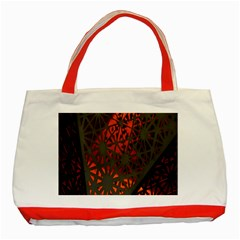 Abstract Lighted Wallpaper Of A Metal Starburst Grid With Orange Back Lighting Classic Tote Bag (Red)