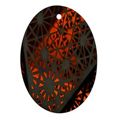 Abstract Lighted Wallpaper Of A Metal Starburst Grid With Orange Back Lighting Oval Ornament (Two Sides)