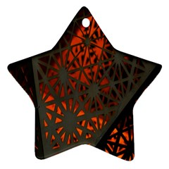 Abstract Lighted Wallpaper Of A Metal Starburst Grid With Orange Back Lighting Star Ornament (two Sides)