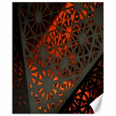 Abstract Lighted Wallpaper Of A Metal Starburst Grid With Orange Back Lighting Canvas 16  x 20