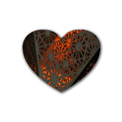 Abstract Lighted Wallpaper Of A Metal Starburst Grid With Orange Back Lighting Rubber Coaster (Heart)
