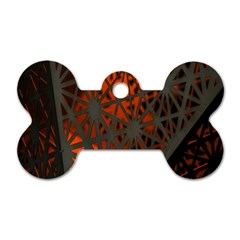 Abstract Lighted Wallpaper Of A Metal Starburst Grid With Orange Back Lighting Dog Tag Bone (One Side)