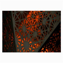Abstract Lighted Wallpaper Of A Metal Starburst Grid With Orange Back Lighting Large Glasses Cloth (2-Side)
