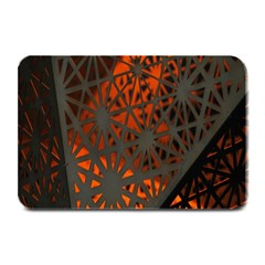 Abstract Lighted Wallpaper Of A Metal Starburst Grid With Orange Back Lighting Plate Mats