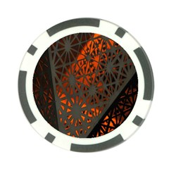 Abstract Lighted Wallpaper Of A Metal Starburst Grid With Orange Back Lighting Poker Chip Card Guard