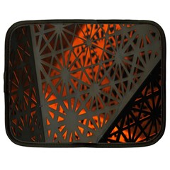 Abstract Lighted Wallpaper Of A Metal Starburst Grid With Orange Back Lighting Netbook Case (large)