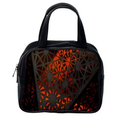 Abstract Lighted Wallpaper Of A Metal Starburst Grid With Orange Back Lighting Classic Handbags (One Side)