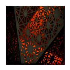 Abstract Lighted Wallpaper Of A Metal Starburst Grid With Orange Back Lighting Face Towel